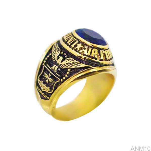 ANM10 nhẫn nam vàng kiểu mỹ đá xanh mệnh thủy
