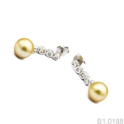 B1.0188-1 Bông tai ngọc trai vàng trắng
