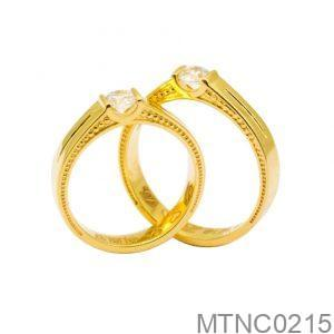 Nhẫn Cưới Vàng 18k Đính Đá CZ - MTNC0215