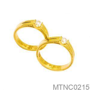 Nhẫn Cưới Vàng Vàng 18k Đính Đá CZ - MTNC0215