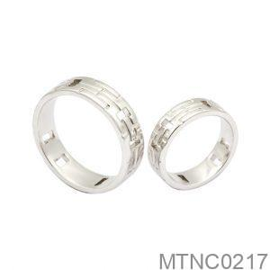 Nhẫn Cưới Vàng Trắng 10k Đính Đá CZ - MTNC0217