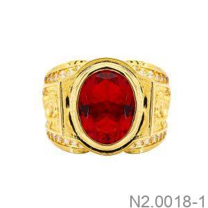 Nhẫn Nam Ngựa Vàng Vàng 18K Đá Đỏ - N2.0018-1