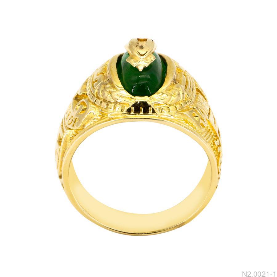 Nhẫn Nam Vàng Vàng 18K Đá Xanh Lục- N2.0021-1