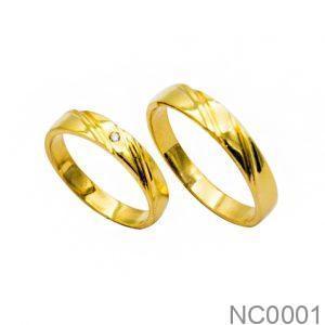 Nhẫn Cưới Vàng Vàng 18k Đính Đá CZ - NC0001