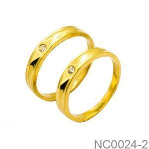 Nhẫn Cưới Vàng Vàng 18k Đính Đá CZ - NC0024-2