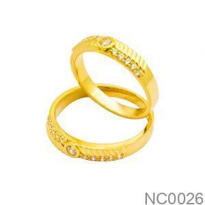 Nhẫn Cưới Vàng Vàng 18k Đính Đá CZ - NC0026