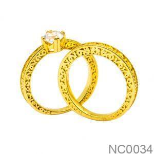 Nhẫn Cưới Vàng Vàng 18k Đính Đá CZ - NC0034