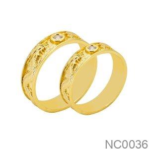 Nhẫn Cưới Vàng Vàng 18k Đính Đá CZ - NC0036