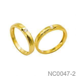 Nhẫn Cưới Hai Màu Vàng 18K Đính Đá CZ - NC0047-2