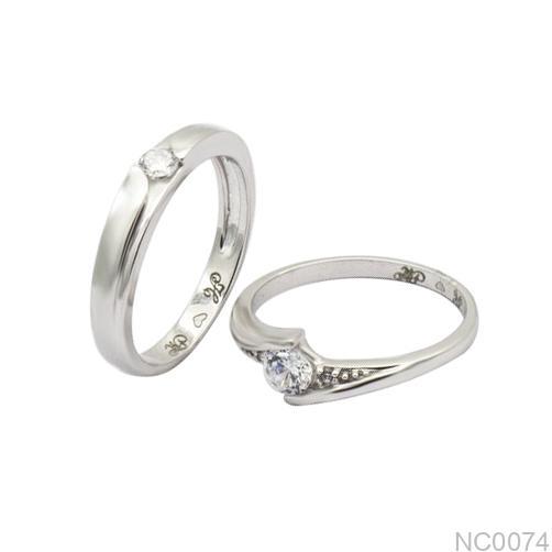 Nhẫn cưới vàng trắng 10k NC0074 APJ
