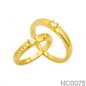 Nhẫn Cưới Vàng Vàng 10k Đính Đá CZ - NC0075
