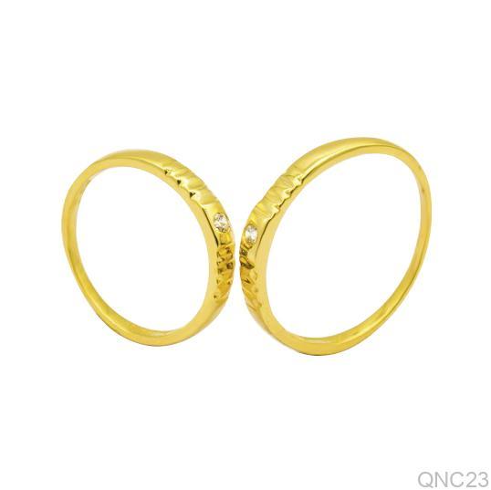 Nhẫn Cưới Vàng Vàng 18k Đính Đá CZ - QNC23