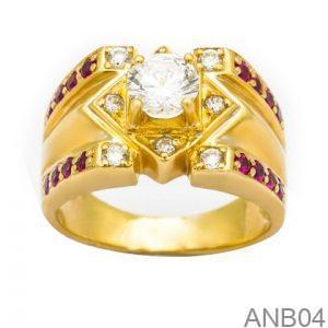 Nhẫn Nam Vàng Vàng 18K Đính Đá CZ - ANB04