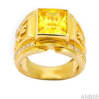 Nhẫn Nam Vàng Vàng 14K Đính Đá CZ - ANB05
