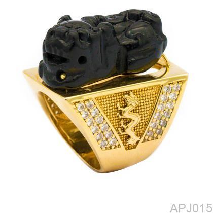 Nhẫn Nam Vàng Vàng 18K Đính Đá CZ - APJ015