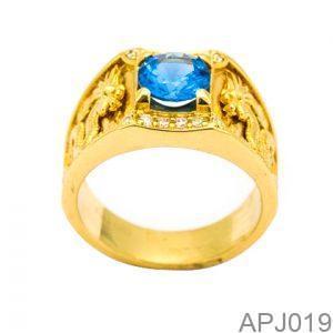 Nhẫn Nam Vàng Vàng 18k Đính Đá CZ - APJ019