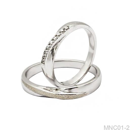 Nhẫn cưới vàng trắng 18k MNC01-2-1 APJ