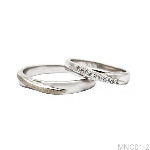 Nhẫn cưới vàng trắng 18k MNC01-2-2 APJ