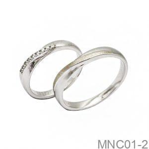Nhẫn cưới vàng trắng 18k MNC01-2 APJ