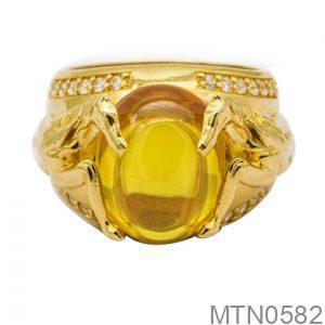 Nhẫn Nam Ngựa Vàng Vàng 14K Đá Vàng - MTN0582