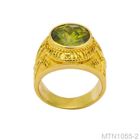 Nhẫn Nam Vàng Vàng 18K Đá Xanh Lục - MTN1055-2