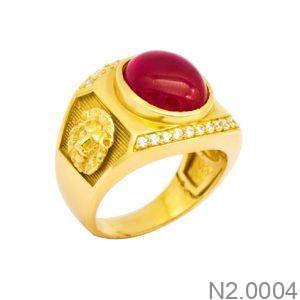 Nhẫn Nam Vàng Vàng 18K Đính Đá CZ - N2.0004
