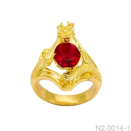 N2.0014-1 Nhẫn nam rồng vàng ngọc ruby đỏ apj