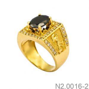 Nhẫn Nam Ngựa Vàng Vàng 18K Đá Đen - N2.0016-2