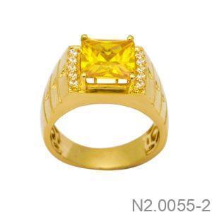 Nhẫn Nam Vàng Vàng 18k Đính Đá CZ - N2.0055-2