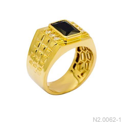 Nhẫn Nam Vàng Vàng 18K Đính Đá CZ - N2.0062-1