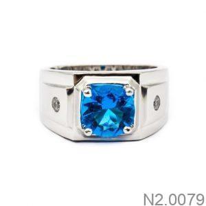 Nhẫn Nam Vàng Trắng 10k Đính Đá Sapphire Xanh - N2.0079