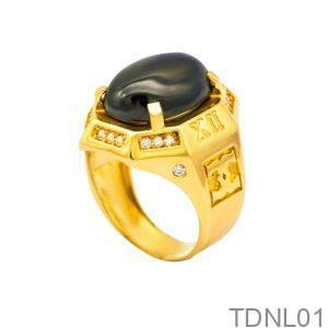 Nhẫn Nam Vàng Vàng 18K Đính Đá CZ - TDNL01