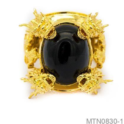 Nhẫn Nam Rồng Vàng Vàng 18k Đá Đen - MTN0830-1