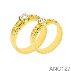 Nhẫn Cưới Vàng Vàng 18K Đính Đá CZ - ANC127