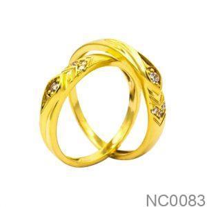 Nhẫn Cưới Vàng Vàng 18k Đính Đá CZ - NC0083