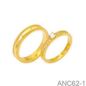 Nhẫn Cưới Vàng Vàng 18k Đính Đá CZ - ANC62-1