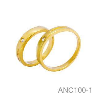 Nhẫn Cưới Vàng Vàng 18k Đính Đá CZ - ANC100-1