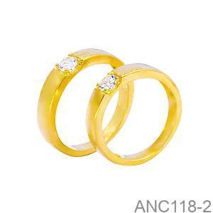 Nhẫn Cưới Vàng Vàng 18k Đính Đá CZ - ANC118-2