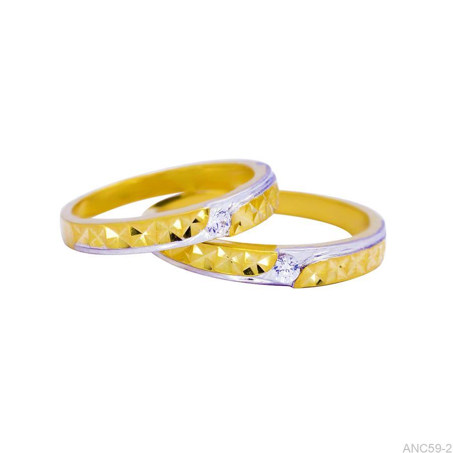 ANC59-2-1 Nhẫn cưới đơn giản đính đã cz vàng 18k