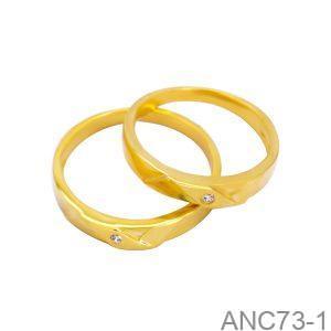 Nhẫn Cưới Vàng Vàng 10K Đính Đá CZ - ANC73-1
