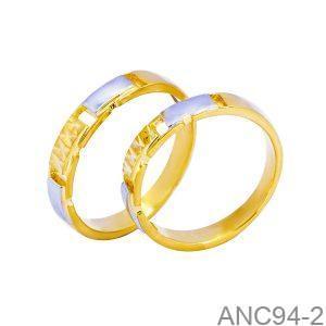 Nhẫn Cưới Hai Màu Vàng 18k Đính Đá CZ - ANC94-2