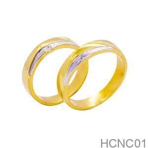 Nhẫn Cưới Hai Màu Vàng 18k Đính Đá CZ - HCNC01
