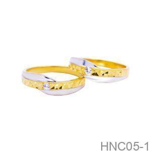 Nhẫn Cưới Hai Màu Vàng 18k Đính Đá CZ - HNC05-1