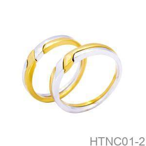 Nhẫn Cưới Hai Màu Vàng 10K Đính Đá CZ - HTNC01-2