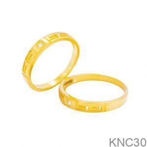Nhẫn Cưới Vàng Vàng 18k Đính Đá CZ - KNC30