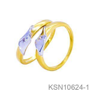 Nhẫn Cưới Hai Màu Vàng 18k Đính Đá CZ - KSN10624-1