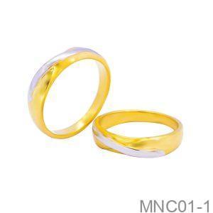 Nhẫn Cưới Hai Màu Vàng 18k Đính Đá CZ - MNC01-1