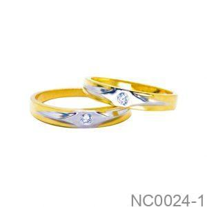 Nhẫn Cưới Hai Màu Vàng 18k Đính Đá CZ - NC0024-1