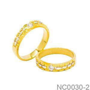 Nhẫn Cưới Hai Màu Vàng 18k Đính Đá CZ - NC0030-2