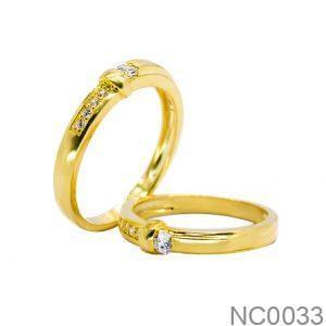 Nhẫn Cưới Vàng Vàng 18k Đính Đá CZ - NC0033